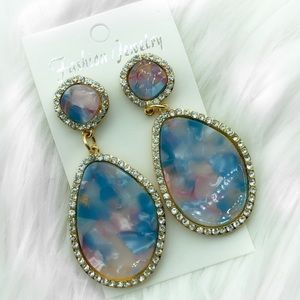 Pink and blue marble stone earrings